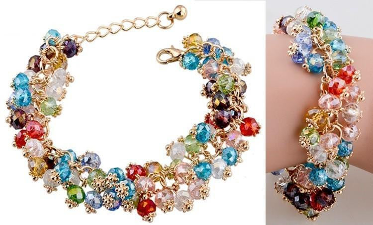European Styled Gorgeous 18K Gold Plated Swarovski Elements Bracelet Bangle - The Fashion Depot