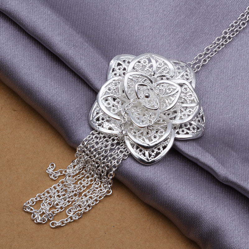 925 Sterling Silver Pendant Necklace - Flower Design - The Fashion Depot