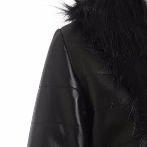 New Women Faux Leather Fur Jacket Upto Plus Size Winter Fox Fur Collar Coat Slim Black