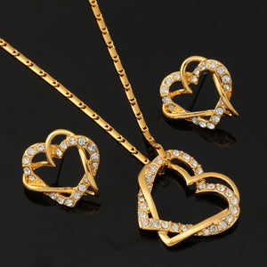 18k Gold Plated AAA Quality Necklace and Earring Set with Austrian Crystal - Gift Idea - The Fashion Depot