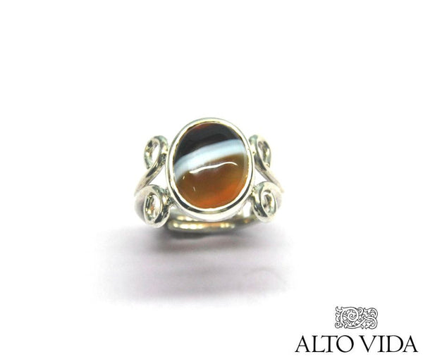 Alto Vida Sterling Silver and Banded Agate Ring