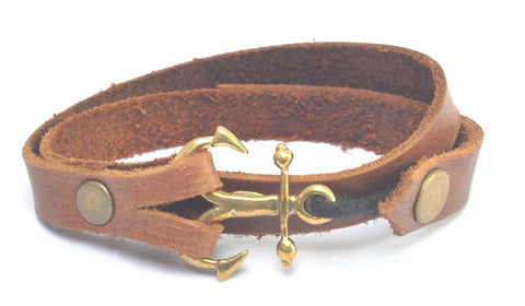 Anchor Mejore Leather Double Wrap Bracelet