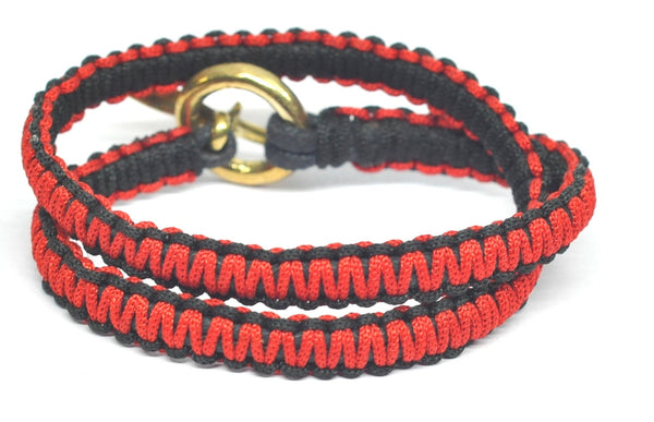 Ring Luchador Double Wrap Reversible Bracelet Black Red