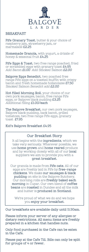 Balgove Larder Cafe Breakfast Menu