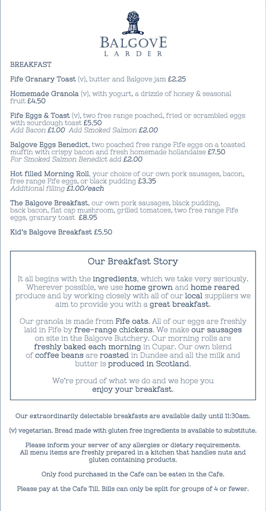 Cafe Breakfast Menu