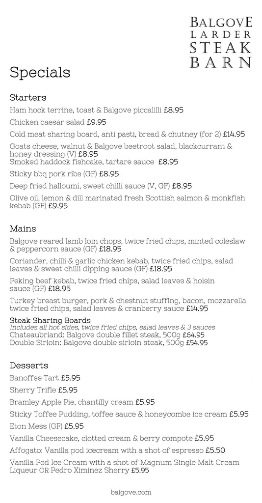 Balgove Larder Steak Barn Specials Menu Example