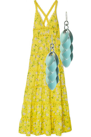 Iced Blule Fondant Earrings paired with Alice + Olivia.