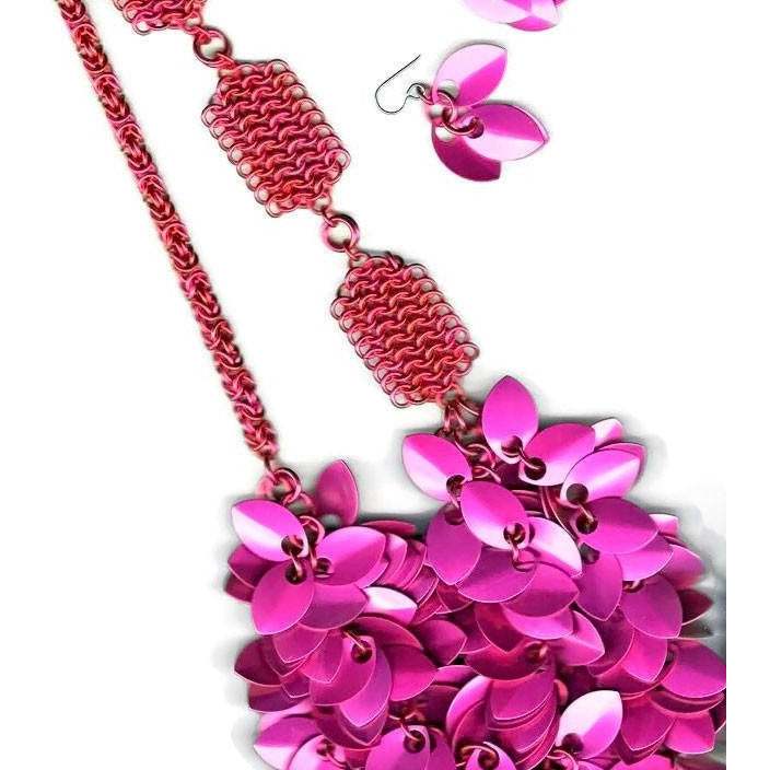 Cascading A Simple Petal Necklace - Raspberry Beret - Diana Ferguson Jewelry