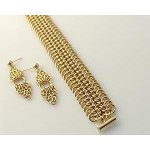 Diana Ferguson Jewelry European 4-in-1 Gold Bracelet and Earrings