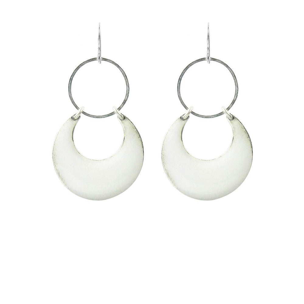 Shorter Length Eclipse Statement Earrings - White over Silver
