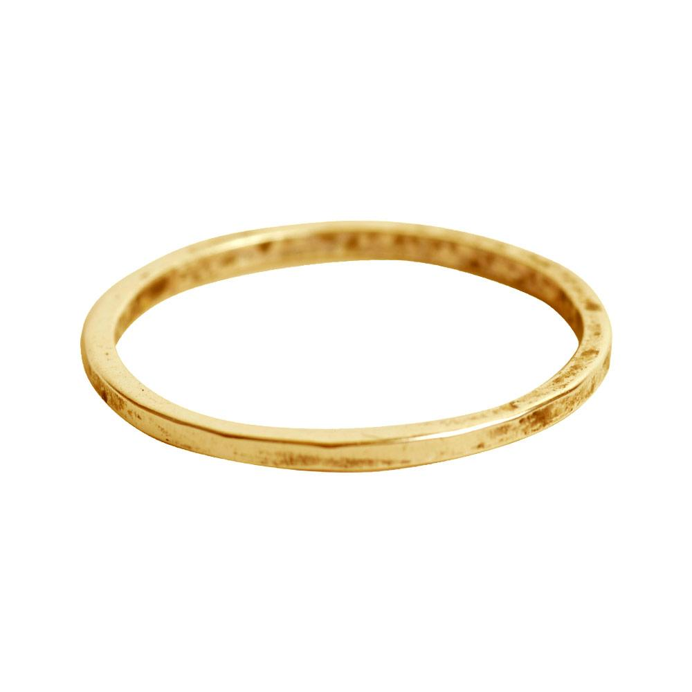 Thin Hammered Stack-able Ring - Gold