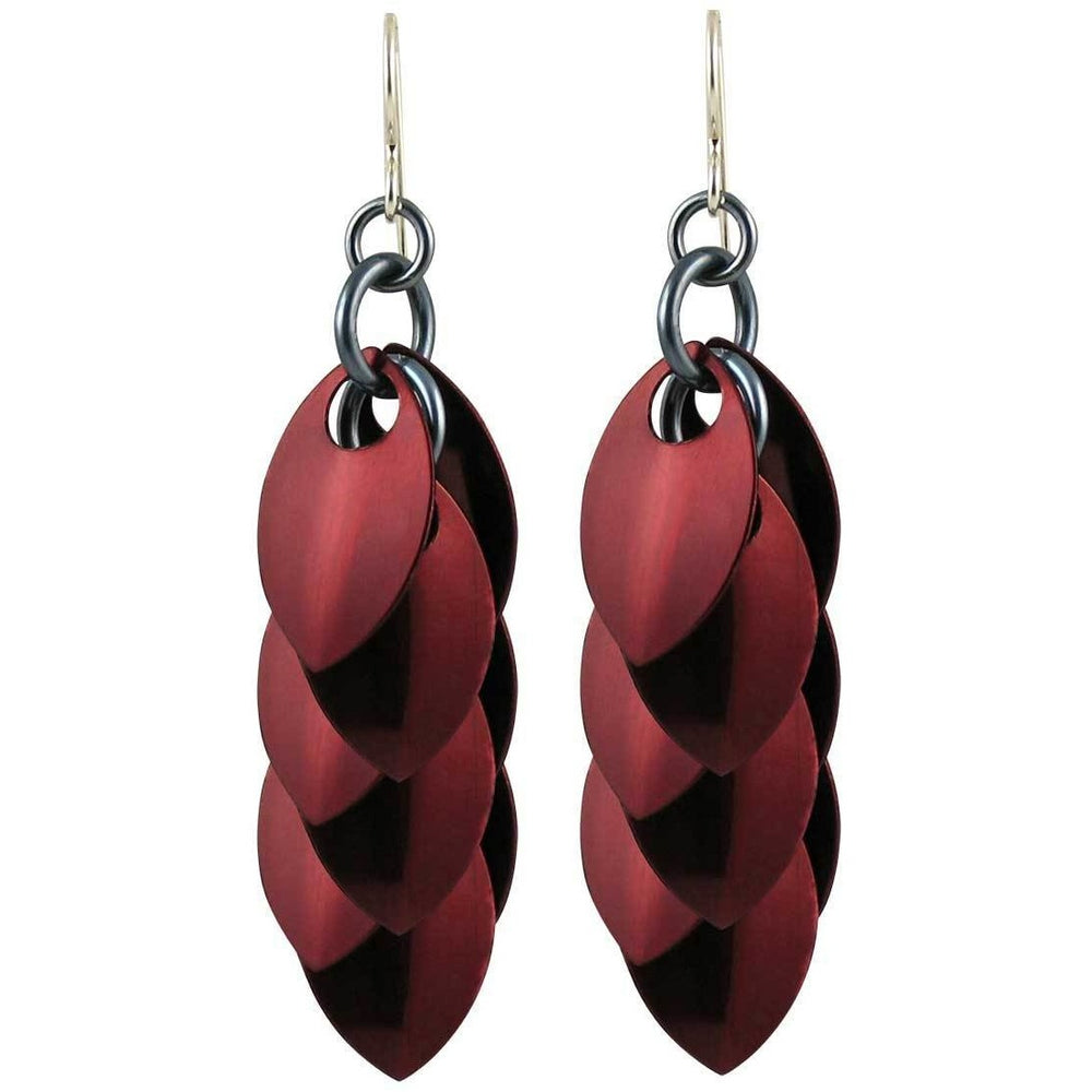 Burgundy Artful Statement Earrings - 3 Lengths - $35 to $95 - A Simple Petal Collection