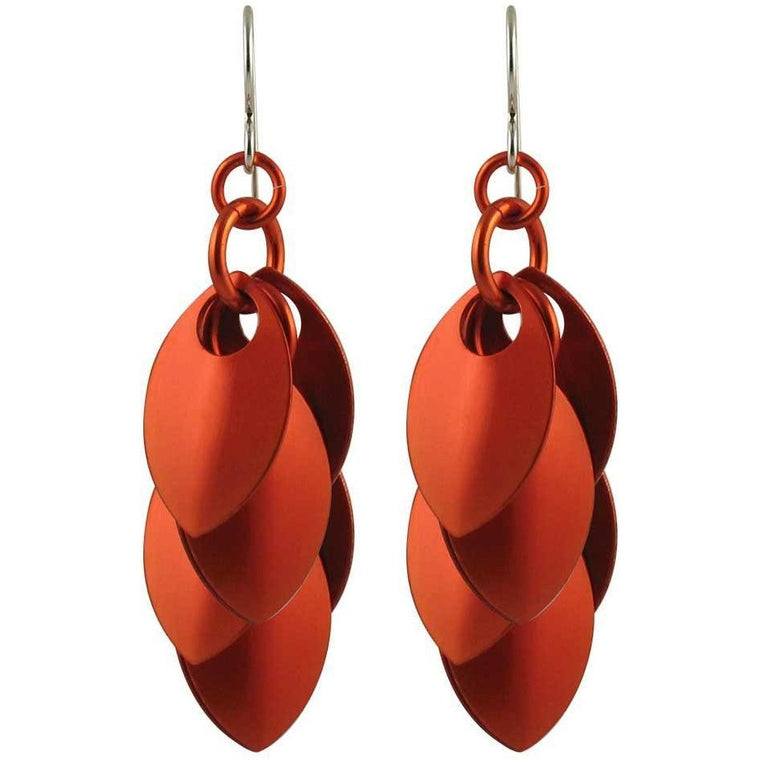 Burnt Orange Artful Statement Earrings - 3 Lengths - $35 to $95 - A Simple Petal Collection