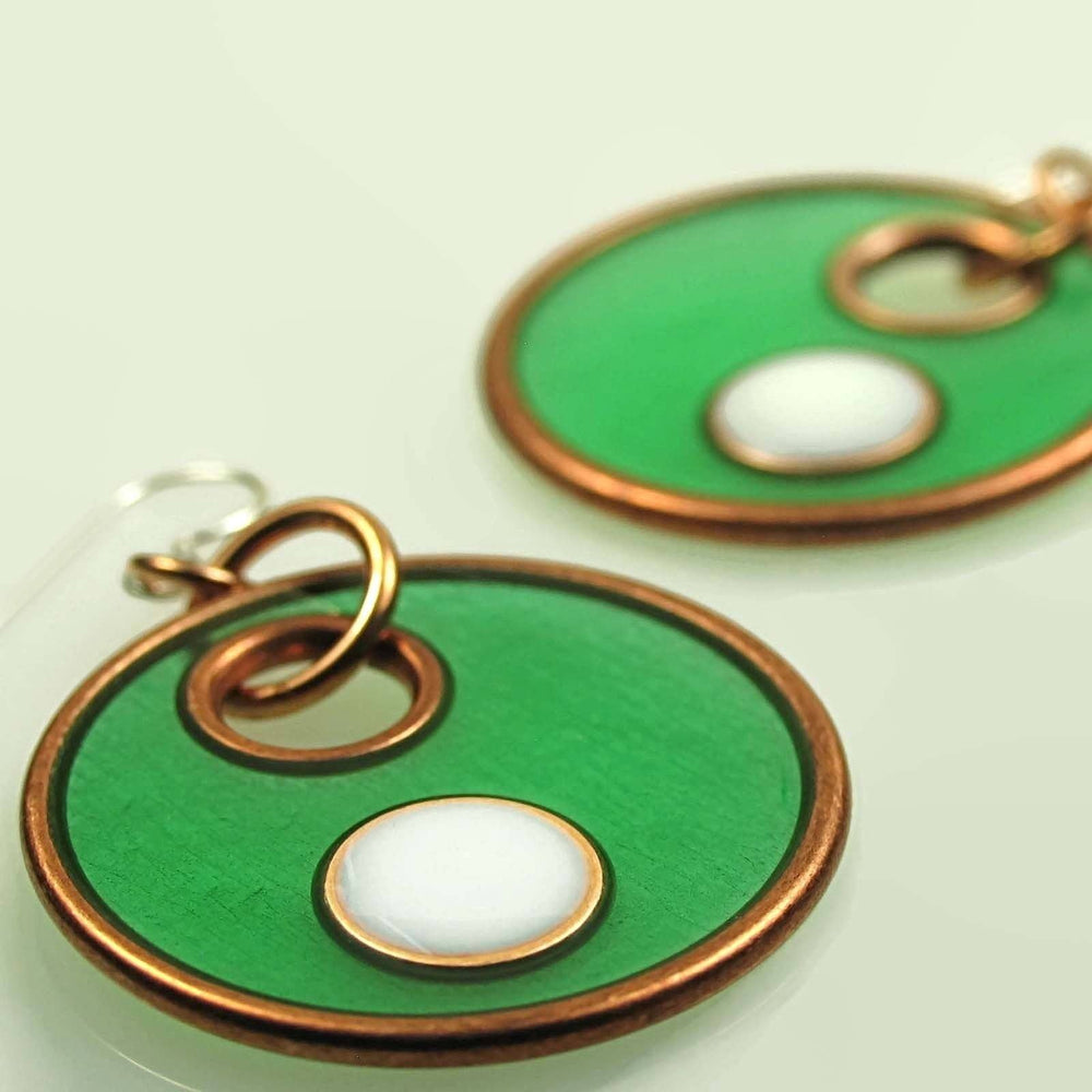 Emerald Green, White and Black Color Block Pendant Earrings Set - Diana Ferguson Jewelry