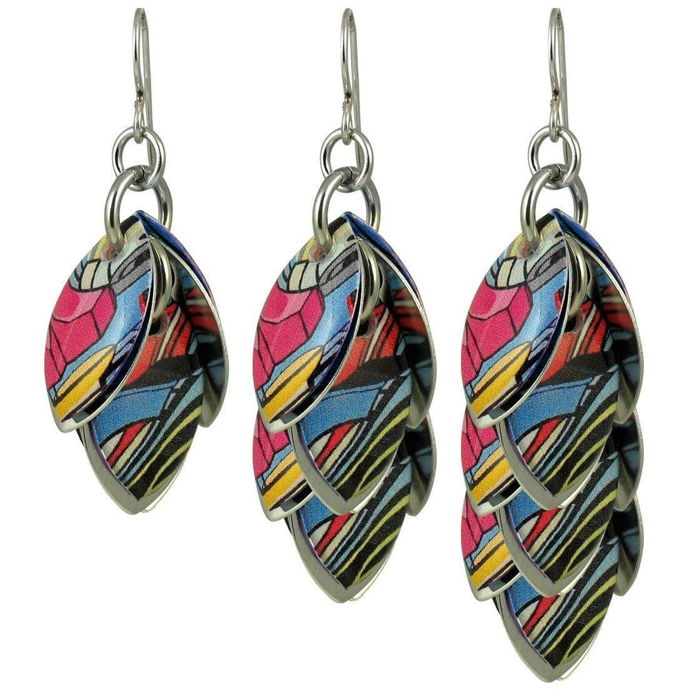 Comic Book Glitch Artful Statement Earrings - 3 Lengths - $95 to $225