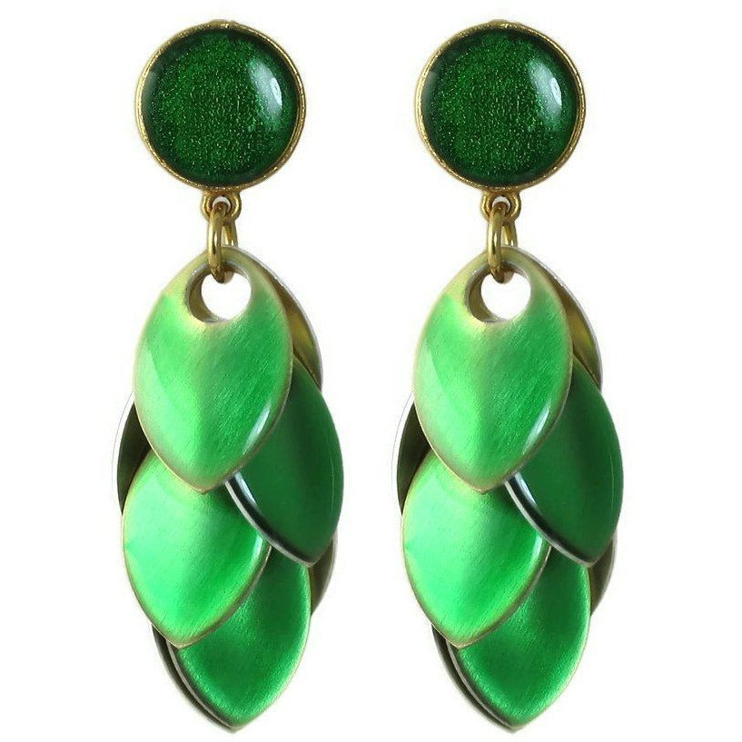 Emerald Green Petal Earrings with Circle Posts