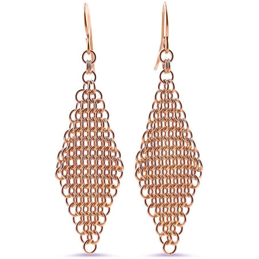 Essentials 14k Rose Gold Hand-Woven Mesh Earrings
