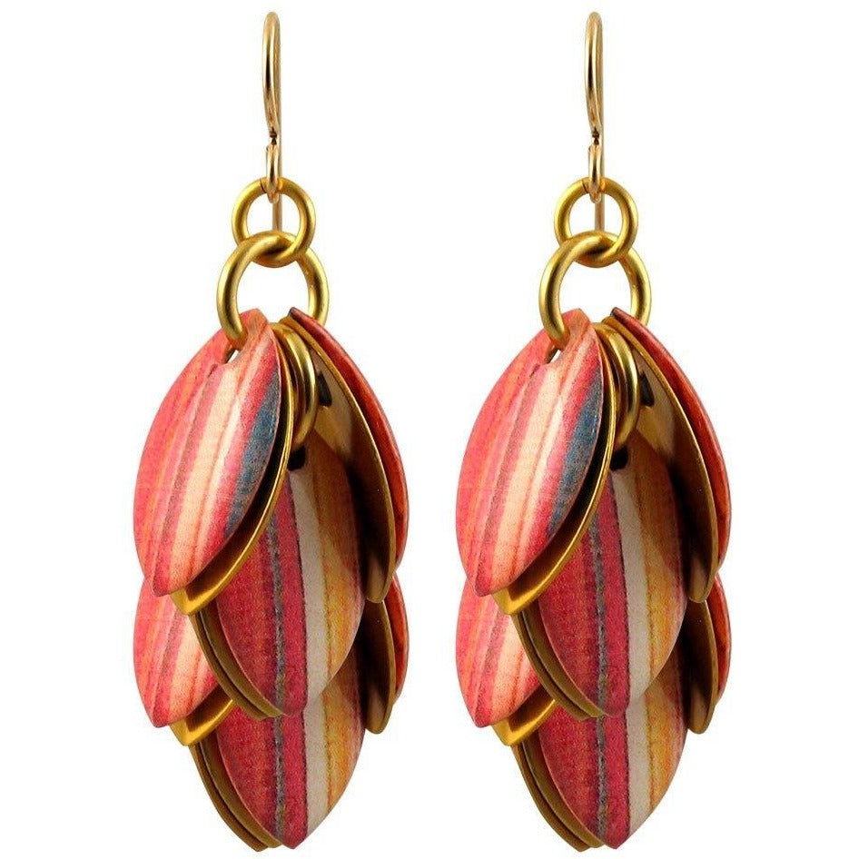 Fall Multi Stripes Artful Statement Earrings - 3 Lengths - $95 to $225