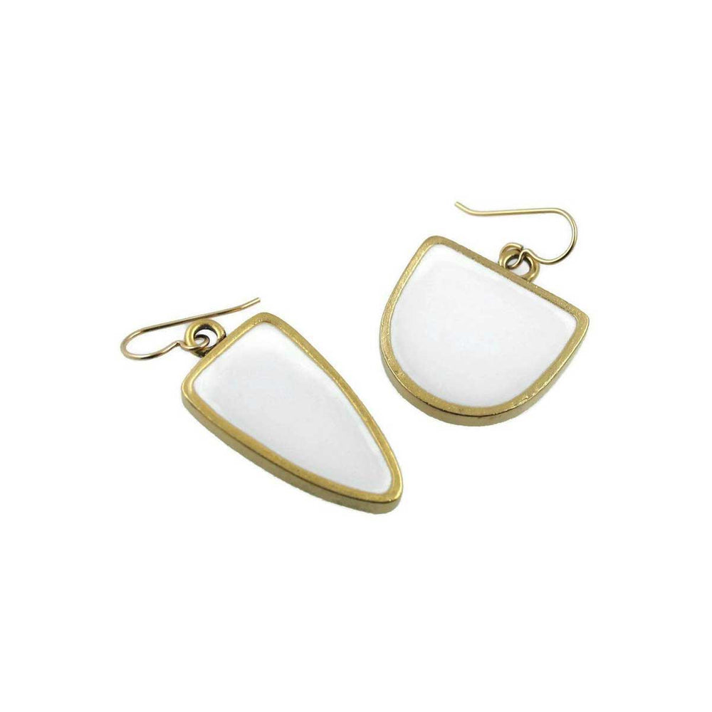 """Mismatched"" White Earrings - Choice of Silver or Gold Frame"