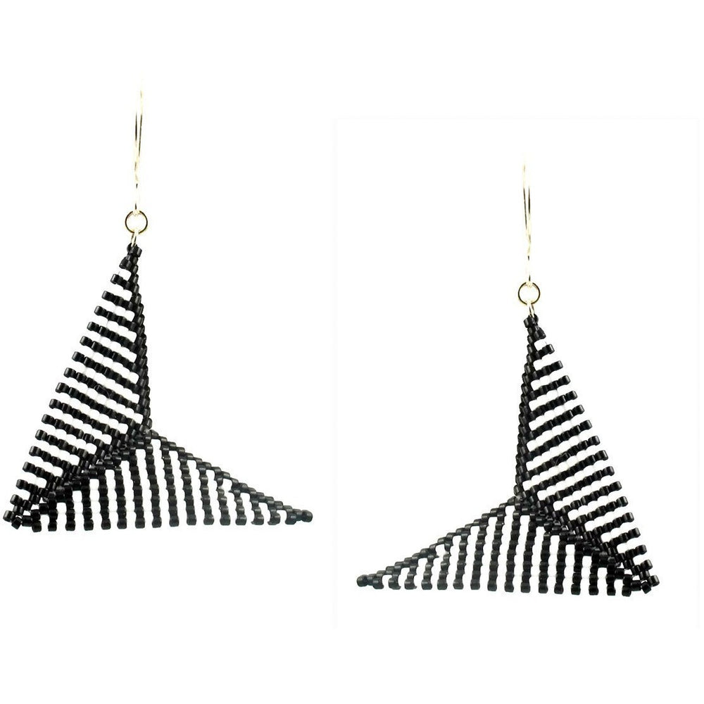 Black and White Hypar Bead Stitched Earrings