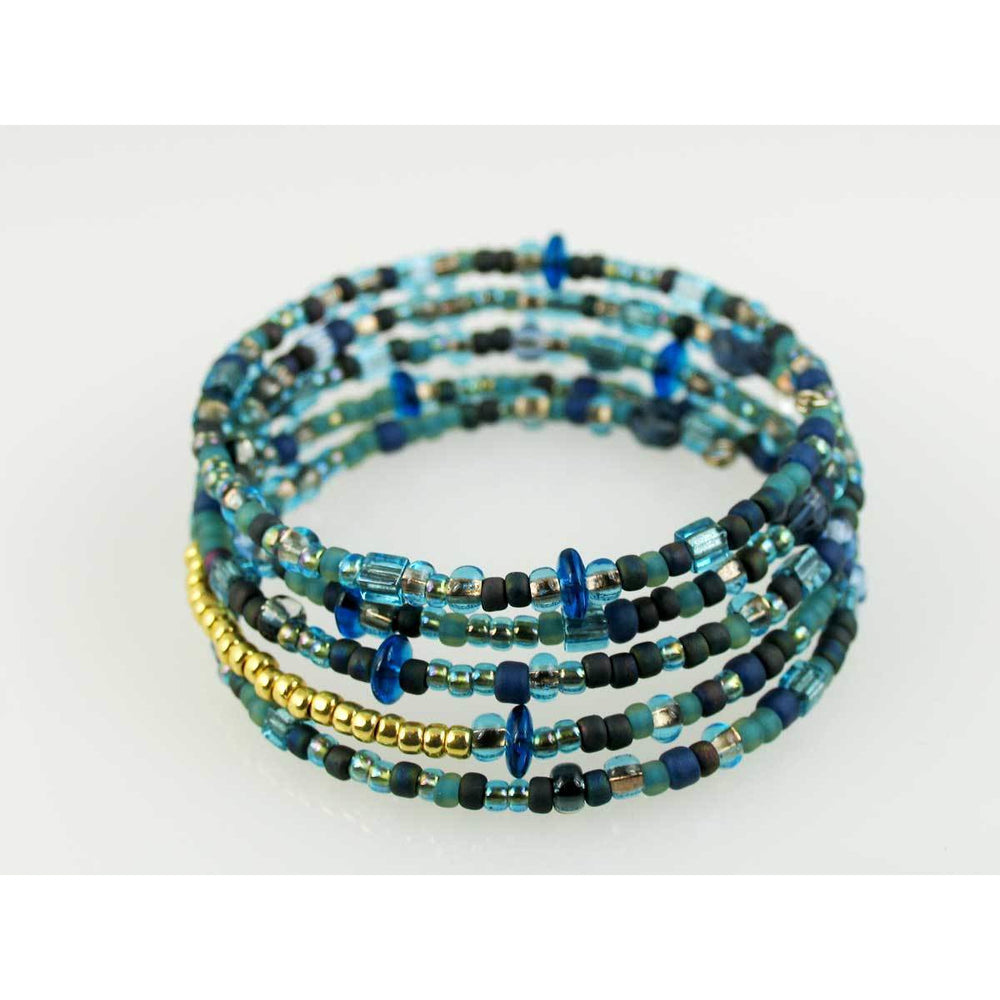 Blue and Gold No Closure Spiral Coil Bracelet