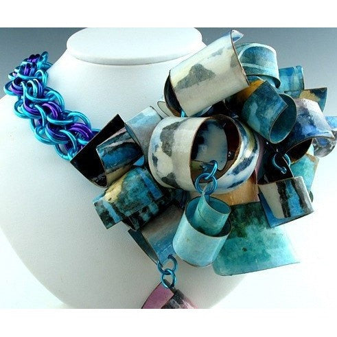 Limited Edition A Symphony of Blue Corsage Style Scroll Necklace