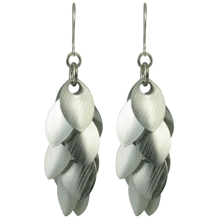 At Angles Brushed Silver A Simple Petal Statement Earrings