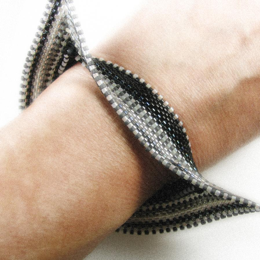If I Were A Tuxedo Bead Stitched Slip On Cuff in Cashmere - Narrow Width