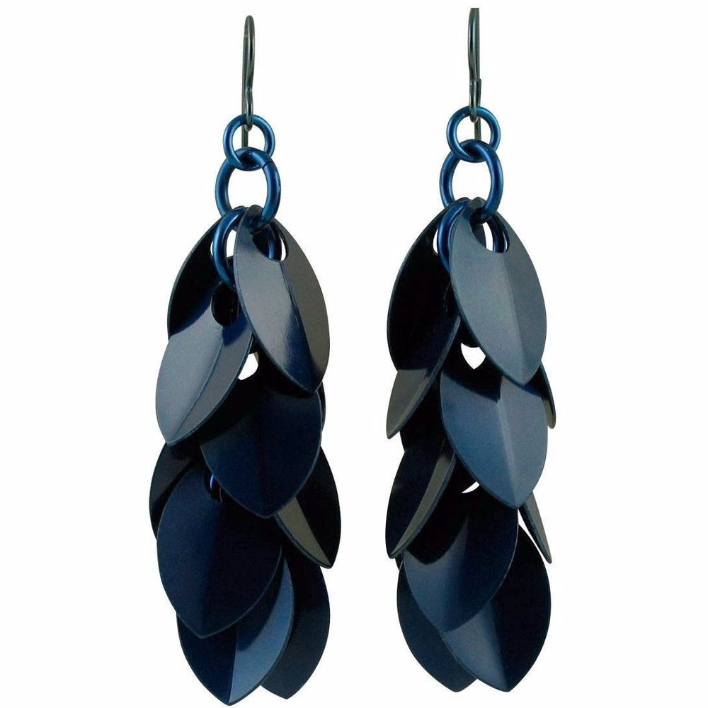 Navy Peony Simple Petal Earrings - Concave/Convex Orientation - Diana Ferguson Jewelry