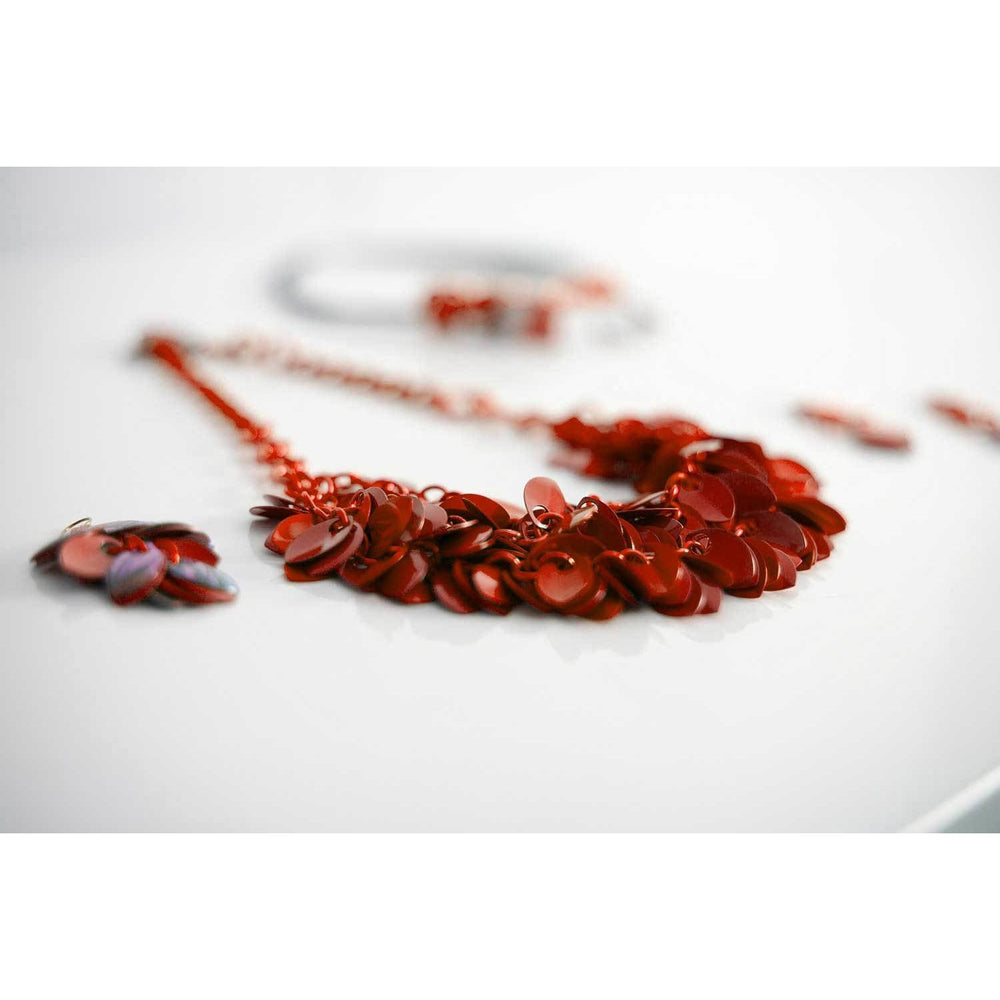 Perfectly Red Cascading A Simple Petal Necklace - Diana Ferguson Jewelry