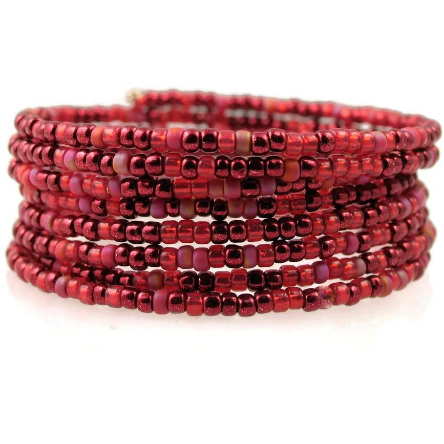 Ruby Red No Closure Spiral Coil Bracelet - Diana Ferguson Jewelry