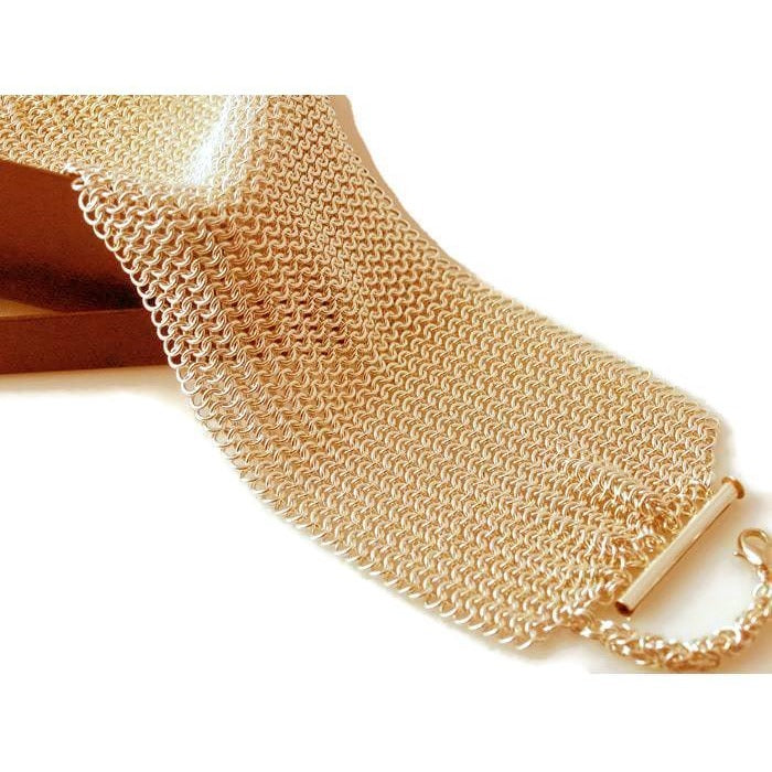 Essentials Gold or Silver Hand-Woven Mesh Cuff