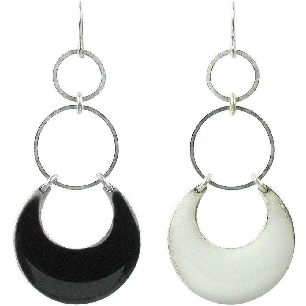 Eclipse Statement Earrings - Enamel over Silver or Distressed Matte Silver