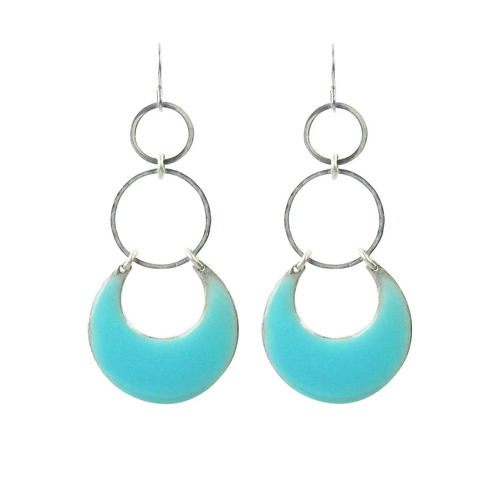 Eclipse Statement Earrings - Turquoise Enamel over Silver