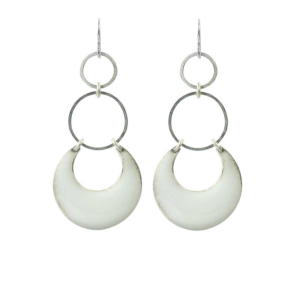 Eclipse Statement Earrings - White over Silver