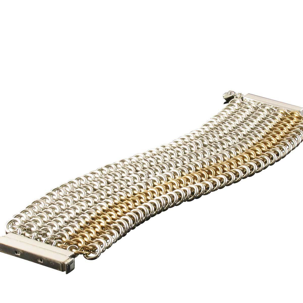 Gold and Silver Hand-Woven Chainmaille Mesh Bracelet