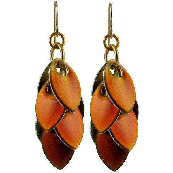 Iced Amber Long Dangle Earrings - two and a half inch long - Diana Ferguson Jewelry