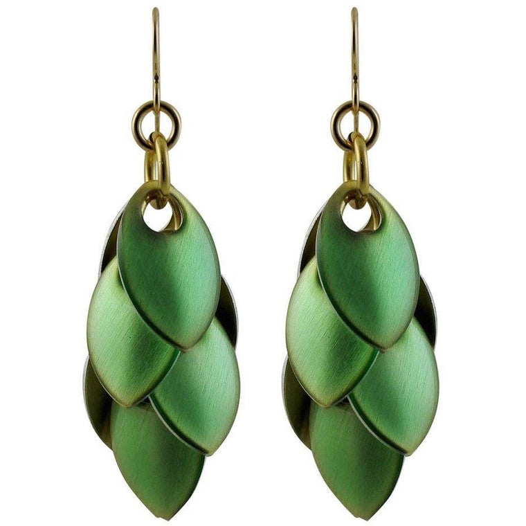 Iced Emerald Artful Statement Earrings - Three Lengths - $65 to $145