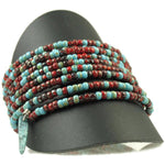One of a Kind Turquoise & Cranberry Coil Bracelet - Diana Ferguson Jewelry