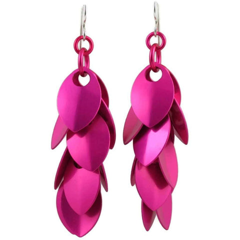 Raspberry Beret Simple Petal Earrings