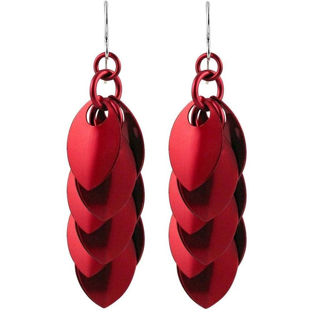 Long red cluster earrings - Diana Ferguson Jewelry