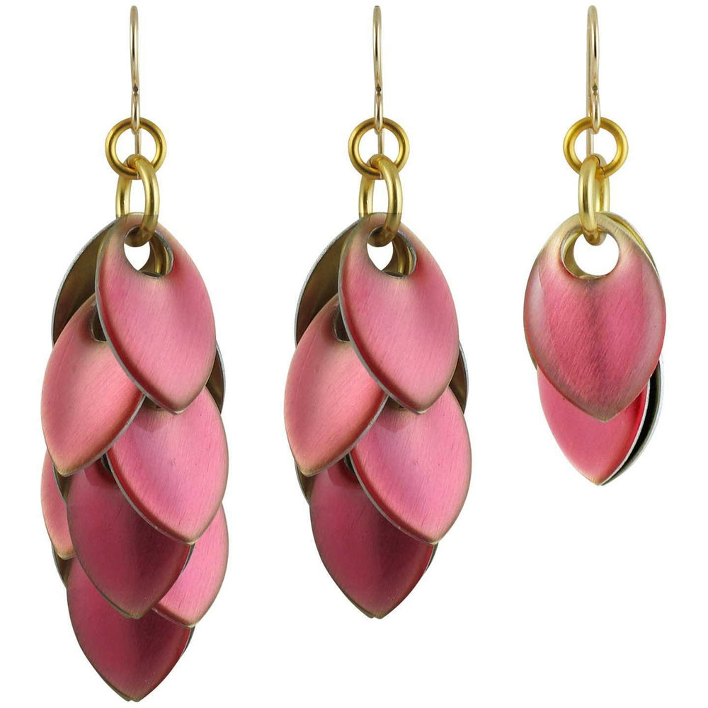 Iced Rose Quartz over Gold Earrings - Three Lengths - $75 to $165