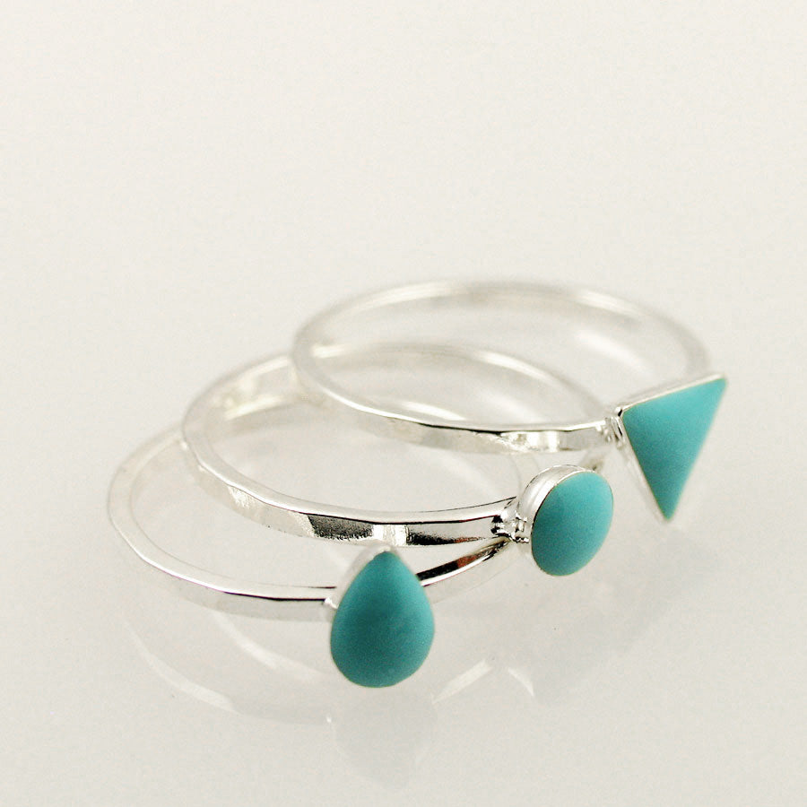 Set of Three Stack-able Rings - Turquoise, Coral, or White