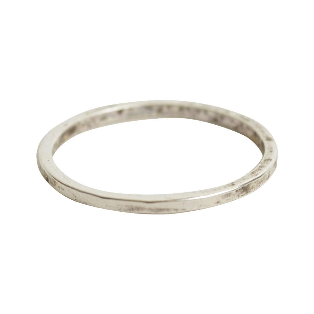 Thin Hammered Stack-able Ring - Silver