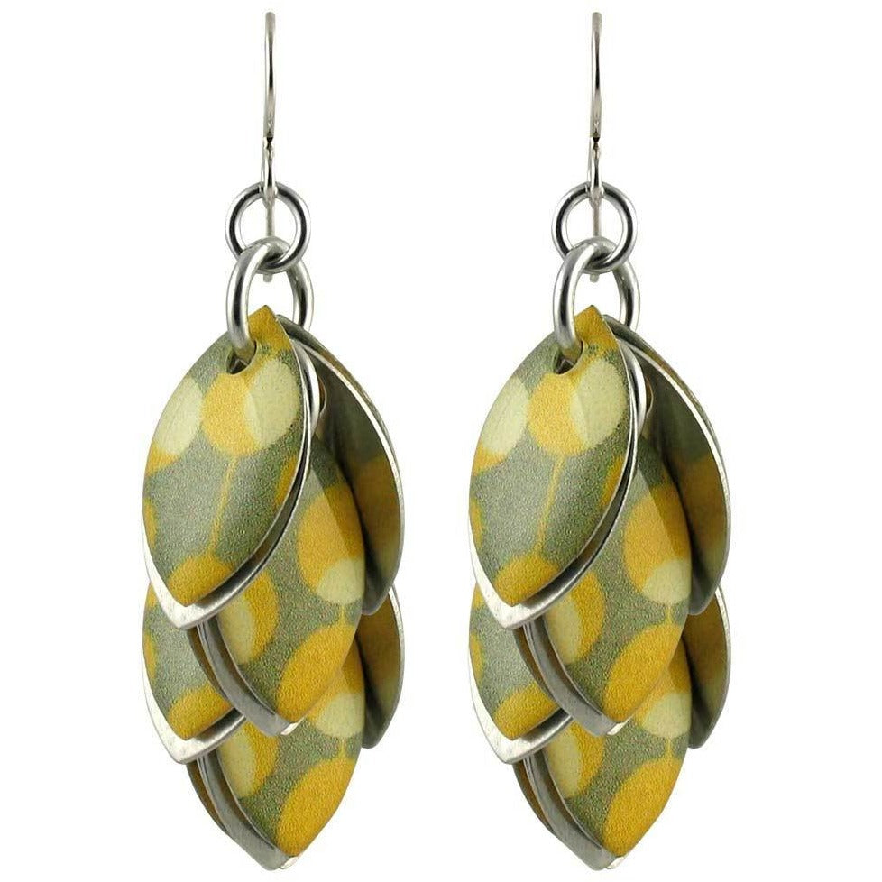 Yellow White Grey Polka Dot Dangle Earrings - Two and Half Inches - Diana Ferguson Jewelry