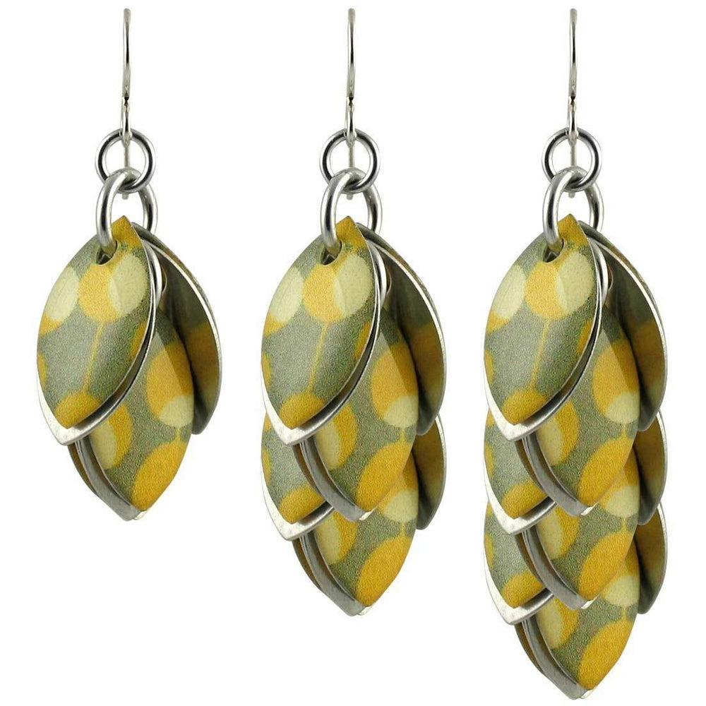Yellow White Grey Polka Dot Dangle Earrings - Three Lengths - Diana Ferguson Jewelry