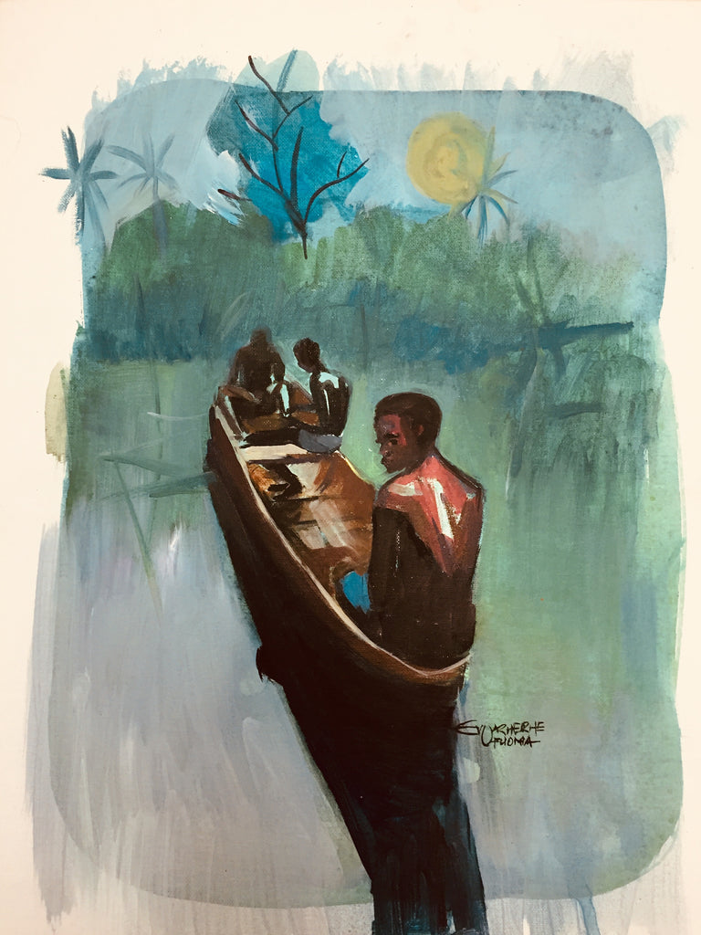 African Painting, Fishermen African Art 0143