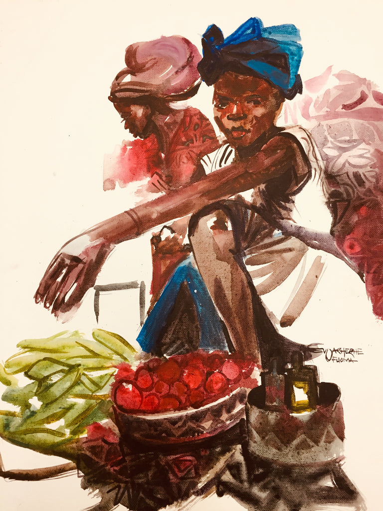 African Painting, Market Seller, African Art 0144