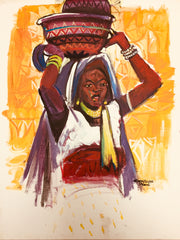 African Painting, Milk Maid 2, African Art 0149