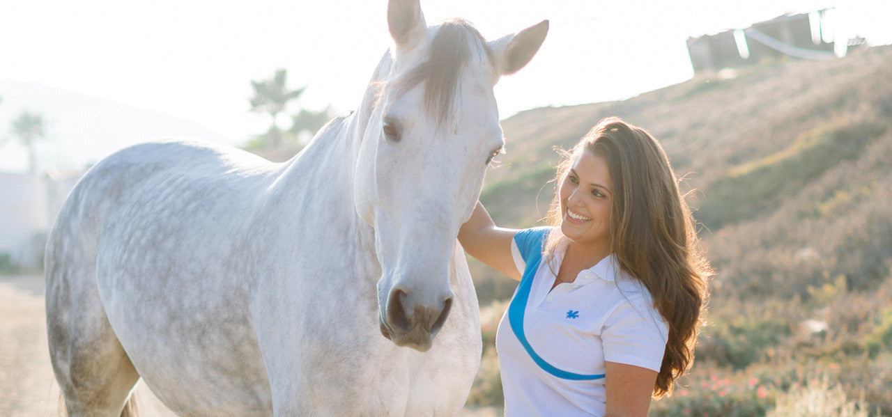 Shayne Dante wearing a Cheval Amour Polo with her horse Perry